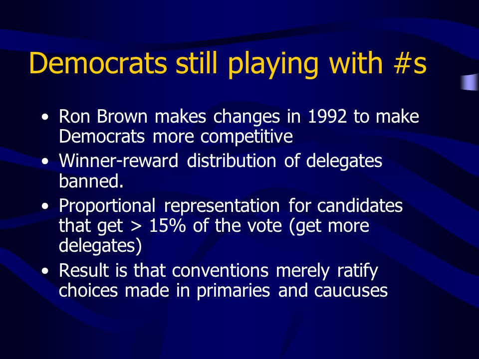 Democrats still playing with #s