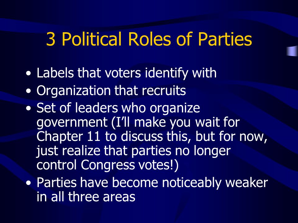 3 Political Roles of Parties