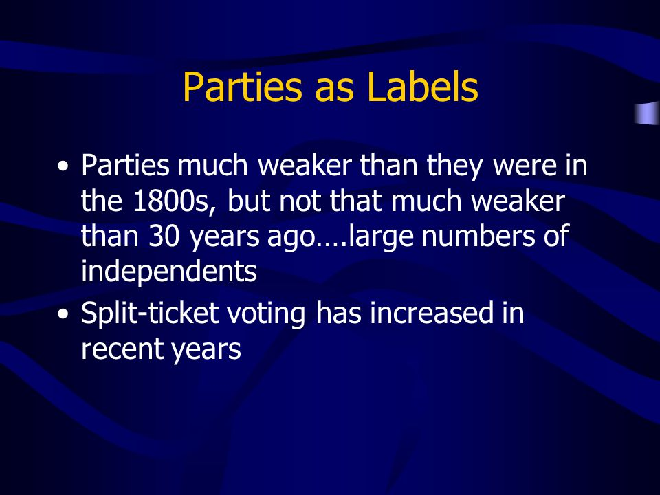 Parties as Labels Parties much weaker than they were in the 1800s, but not that much weaker than 30 years ago….large numbers of independents.