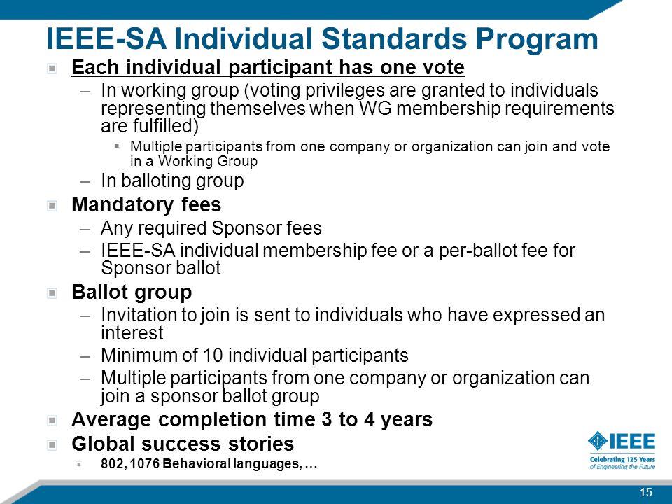 IEEE-SA Individual Standards Program