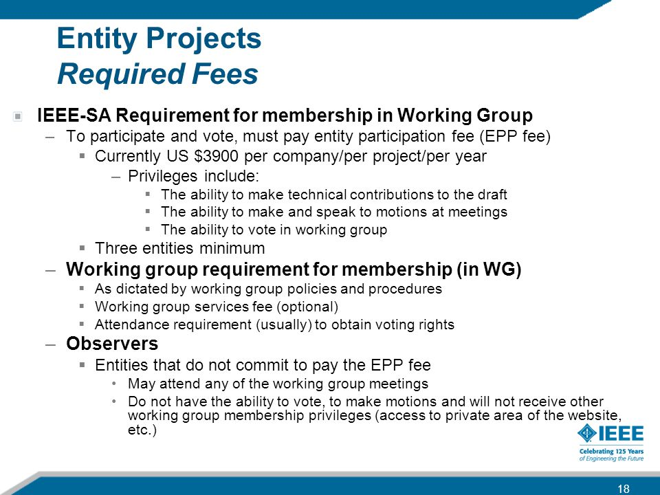 Entity Projects Required Fees