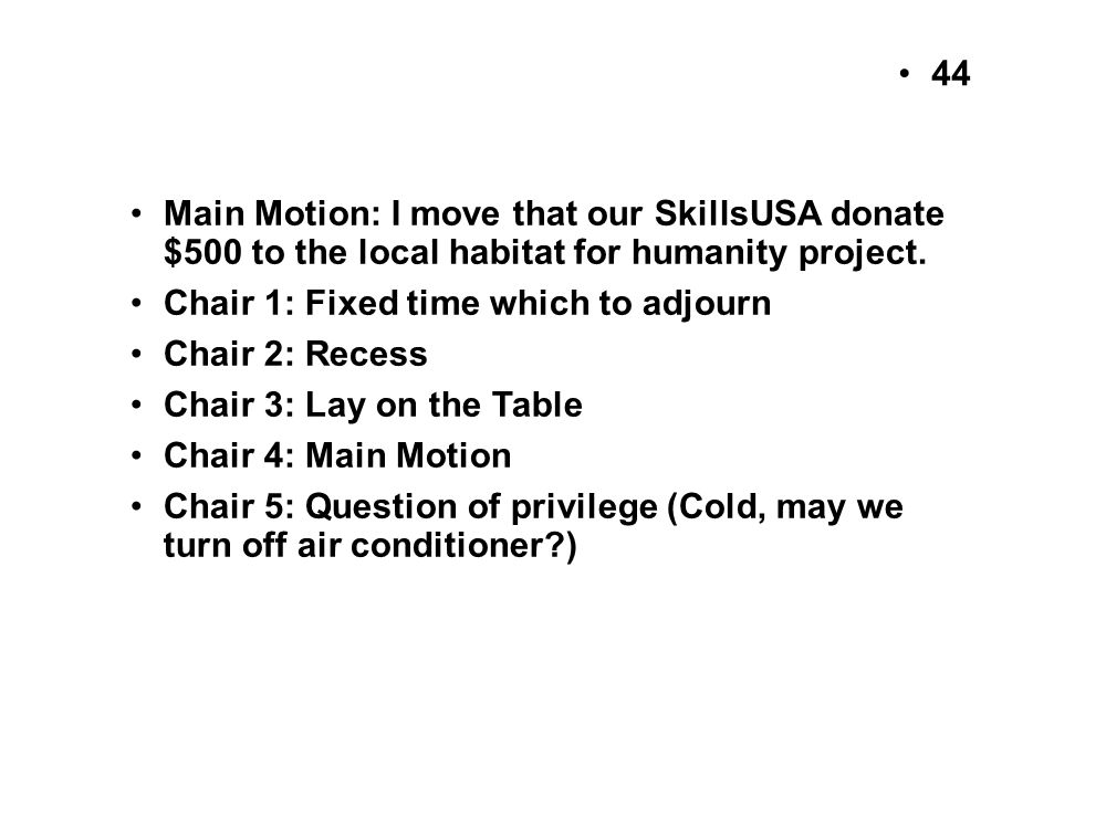 Main Motion: I move that our SkillsUSA donate $500 to the local habitat for humanity project.