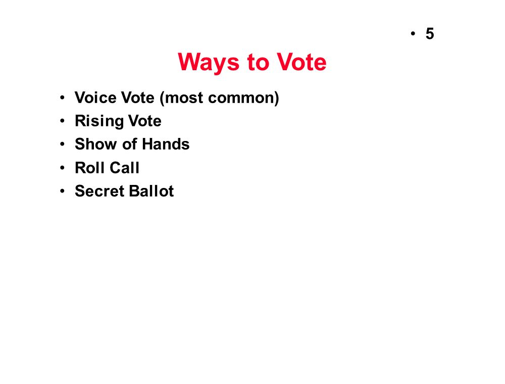 Ways to Vote Voice Vote (most common) Rising Vote Show of Hands