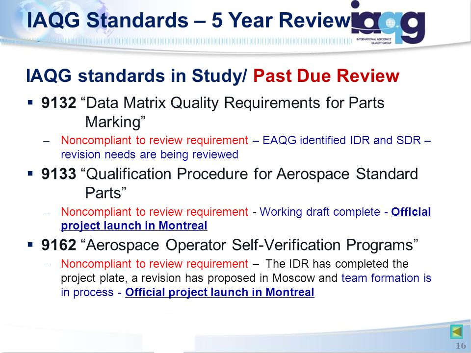 IAQG standards in Study/ Past Due Review
