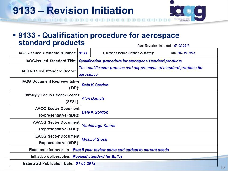 9133 - Qualification procedure for aerospace standard products