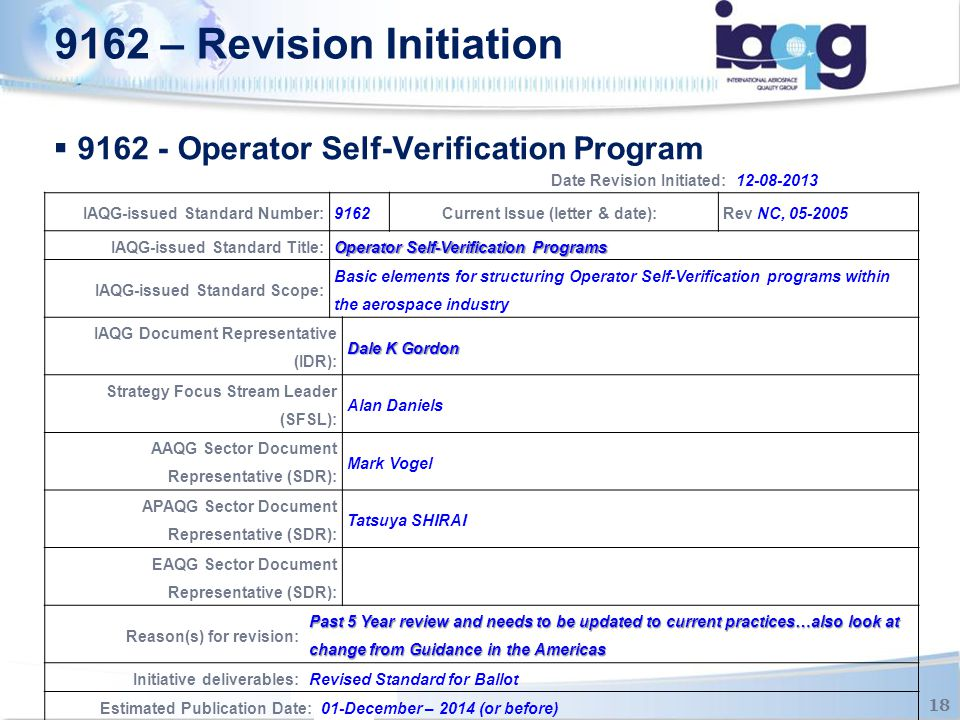 9162 - Operator Self-Verification Program