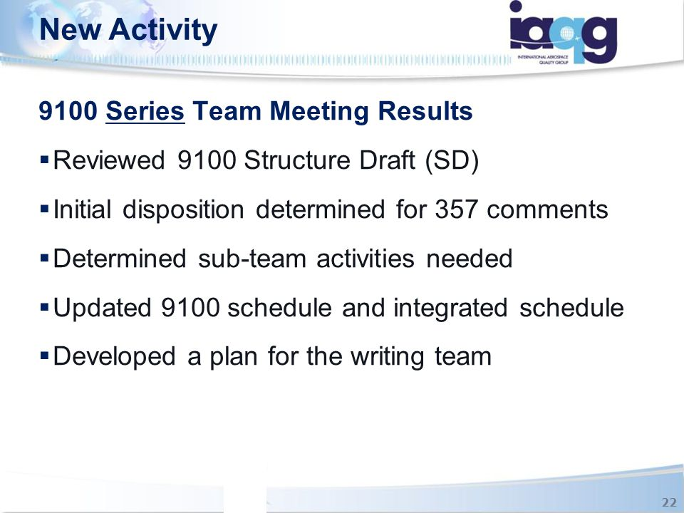New Activity 9100 Series Team Meeting Results