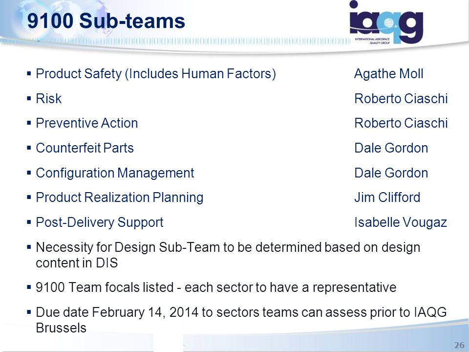 9100 Sub-teams Product Safety (Includes Human Factors) Agathe Moll