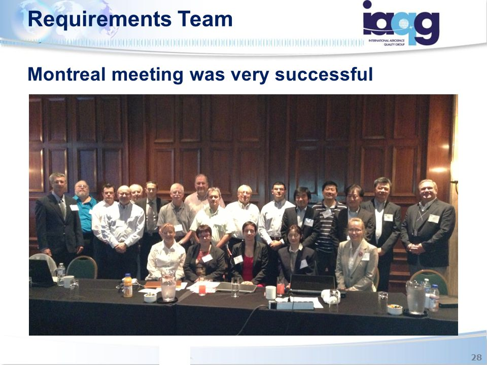 Requirements Team Montreal meeting was very successful 28
