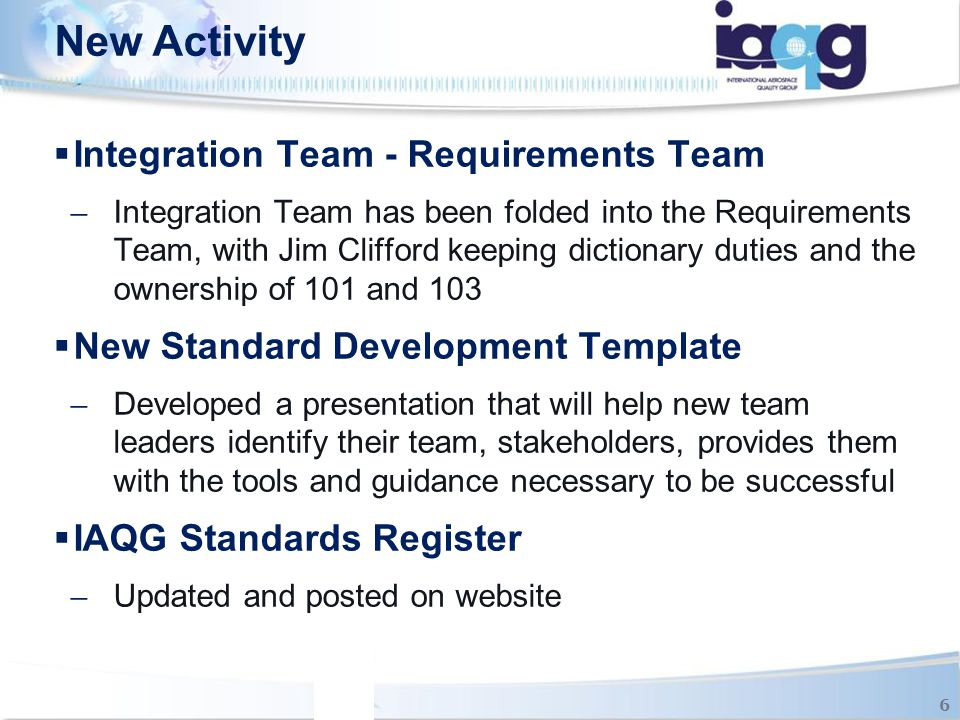 New Activity Integration Team - Requirements Team