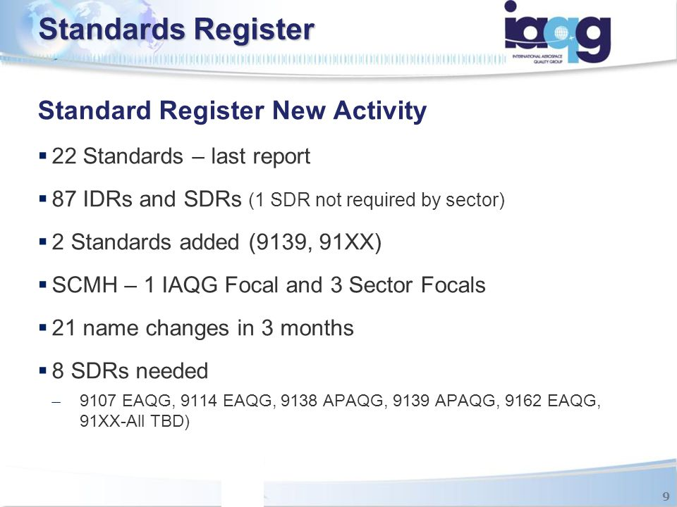 Standards Register Standard Register New Activity