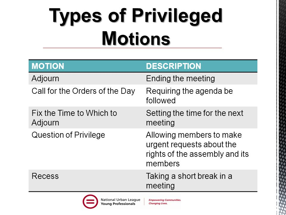 Types of Privileged Motions