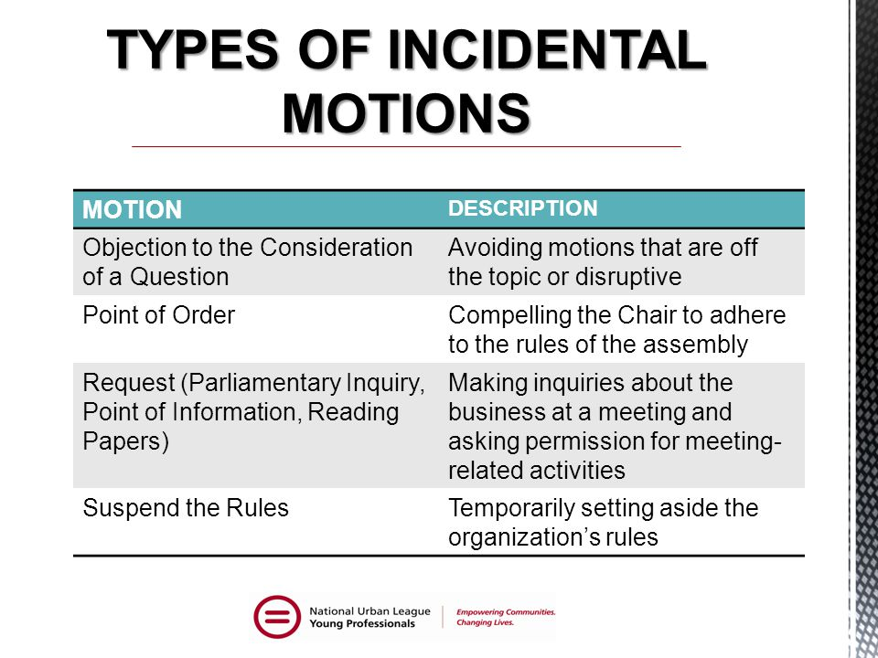 TYPES OF INCIDENTAL MOTIONS