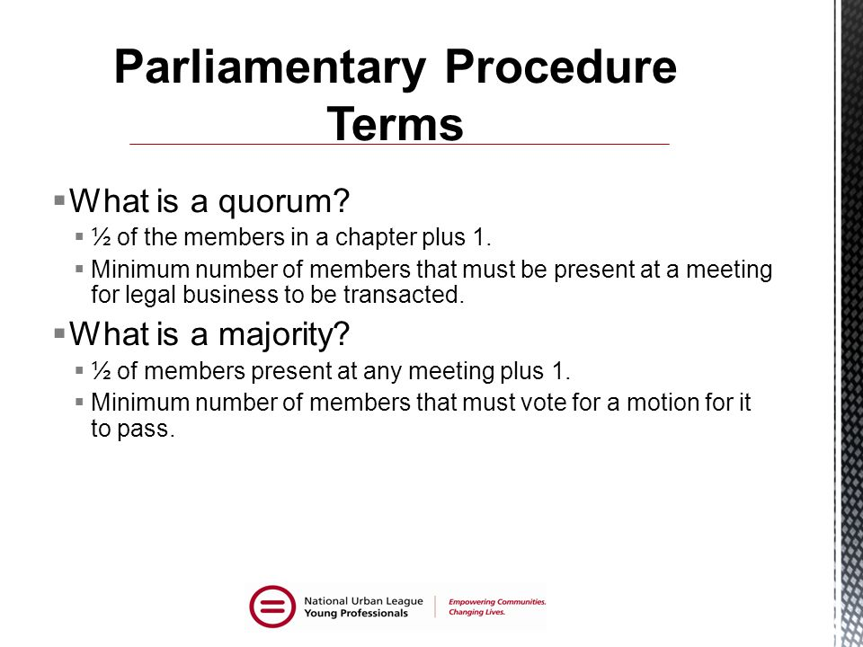 Parliamentary Procedure Terms