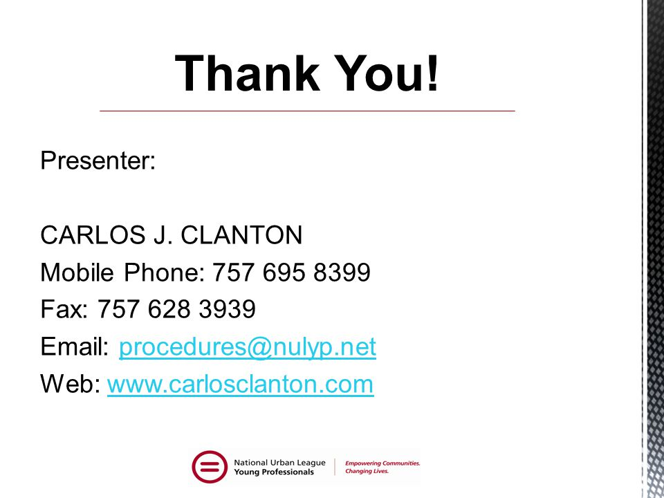 Thank You. Presenter: CARLOS J.