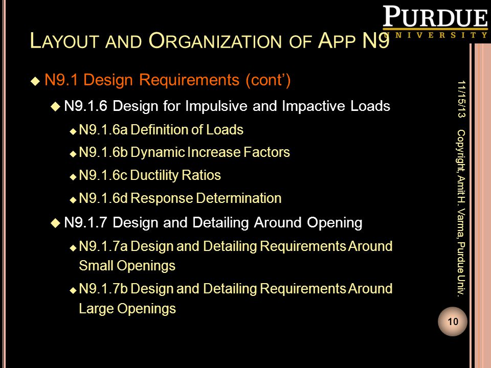 Layout and Organization of App N9
