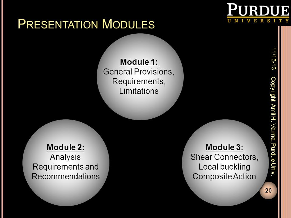 Presentation Modules Module 1: General Provisions, Requirements,