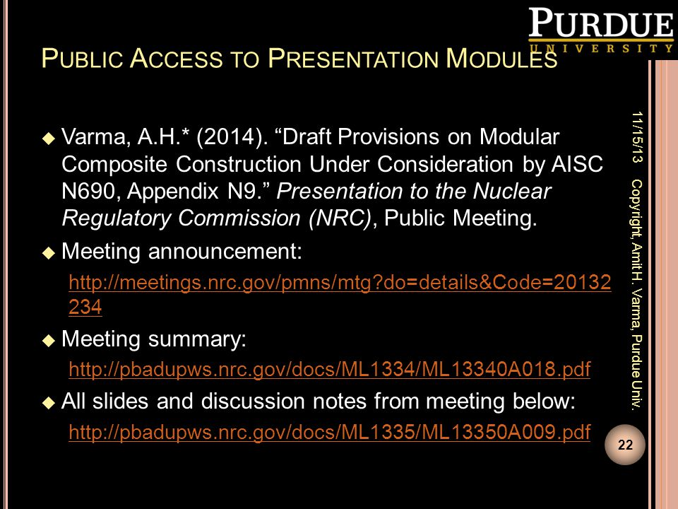 Public Access to Presentation Modules