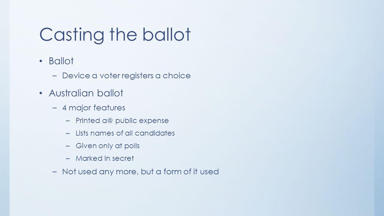 Casting the ballot Ballot Australian ballot