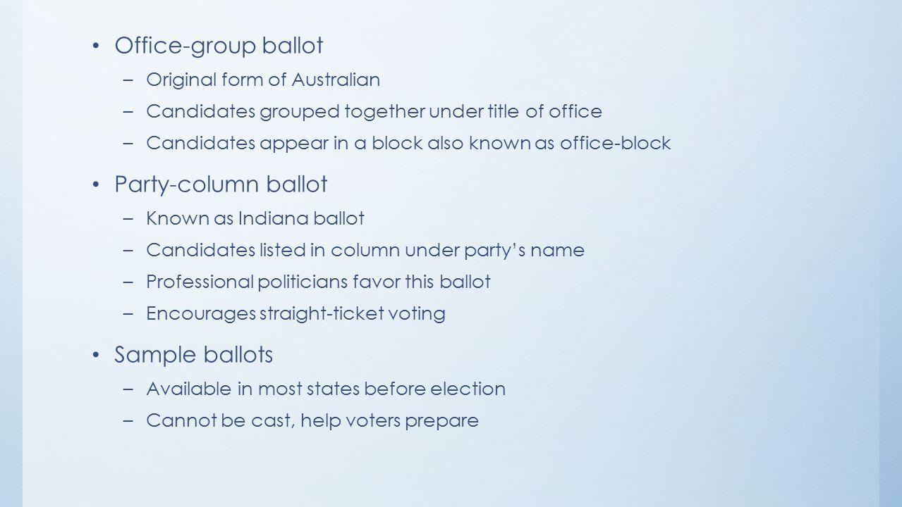 Office-group ballot Party-column ballot Sample ballots