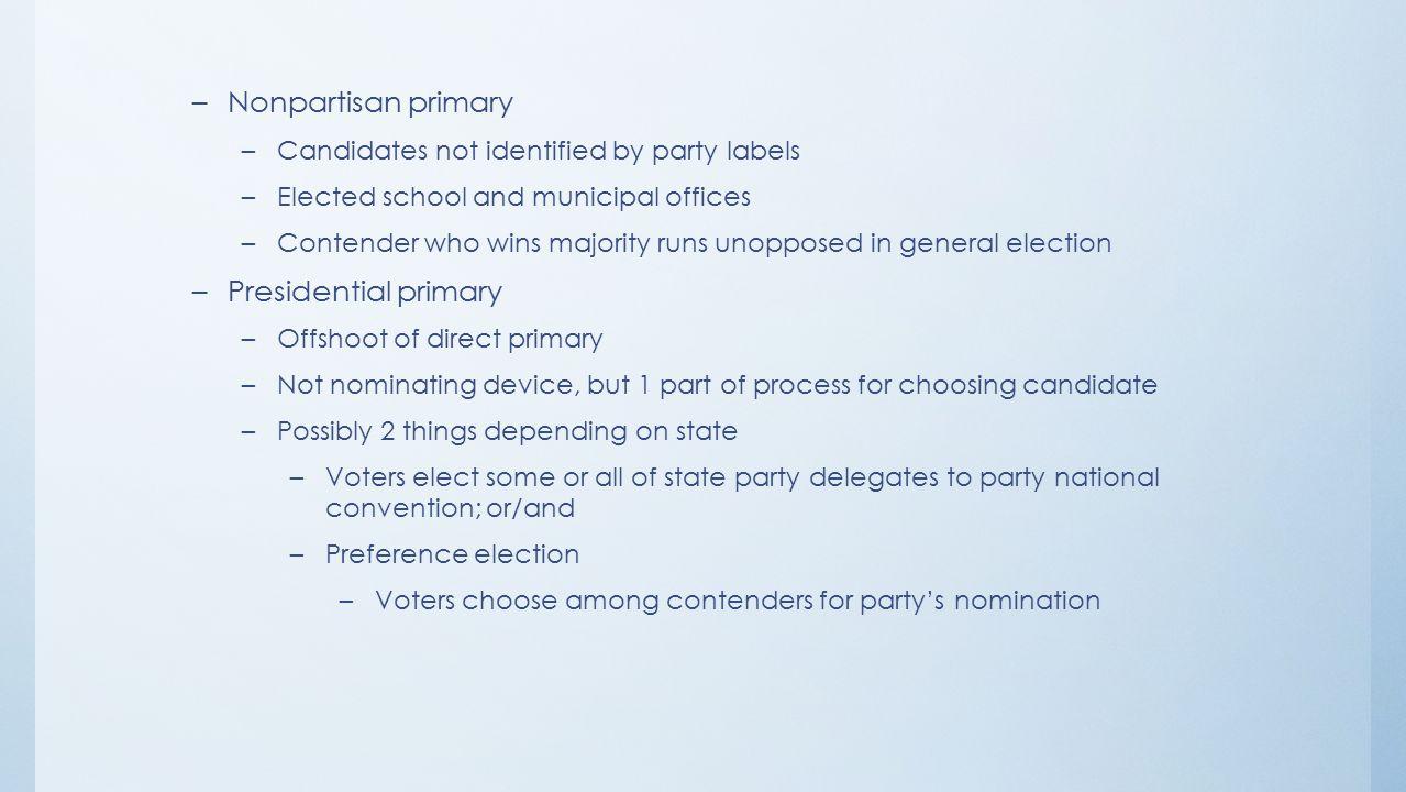 Nonpartisan primary Presidential primary