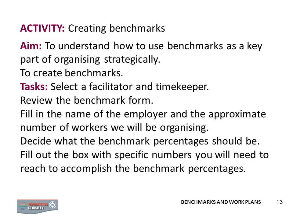 ACTIVITY: Creating benchmarks