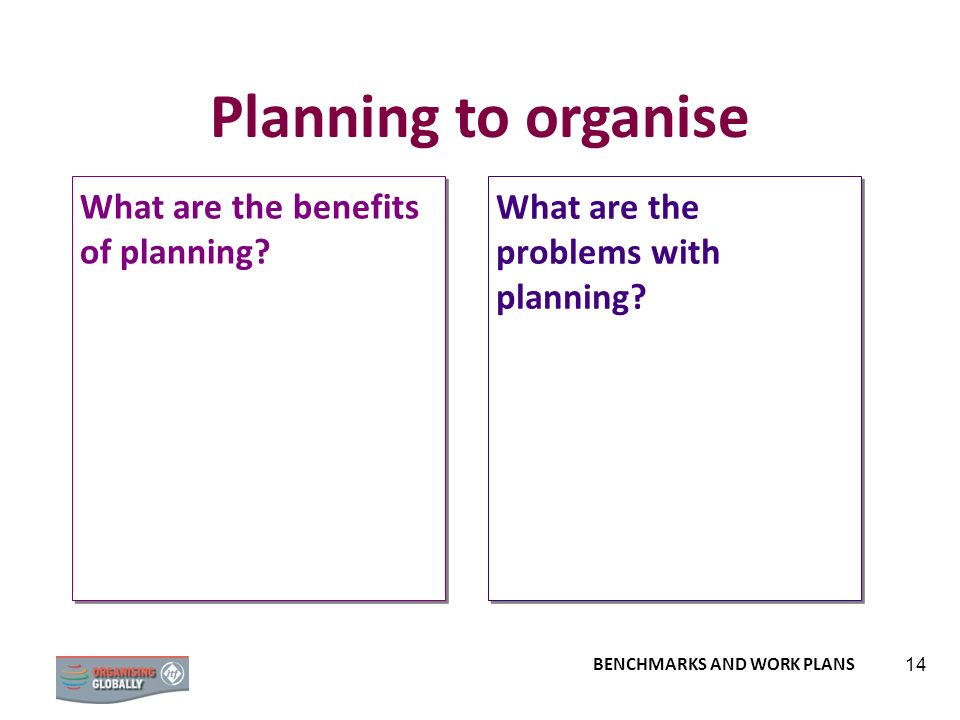 Planning to organise What are the benefits of planning
