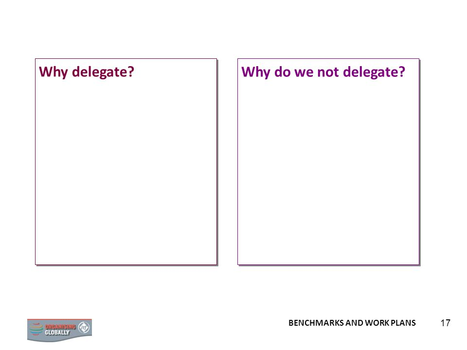 Why delegate Why do we not delegate