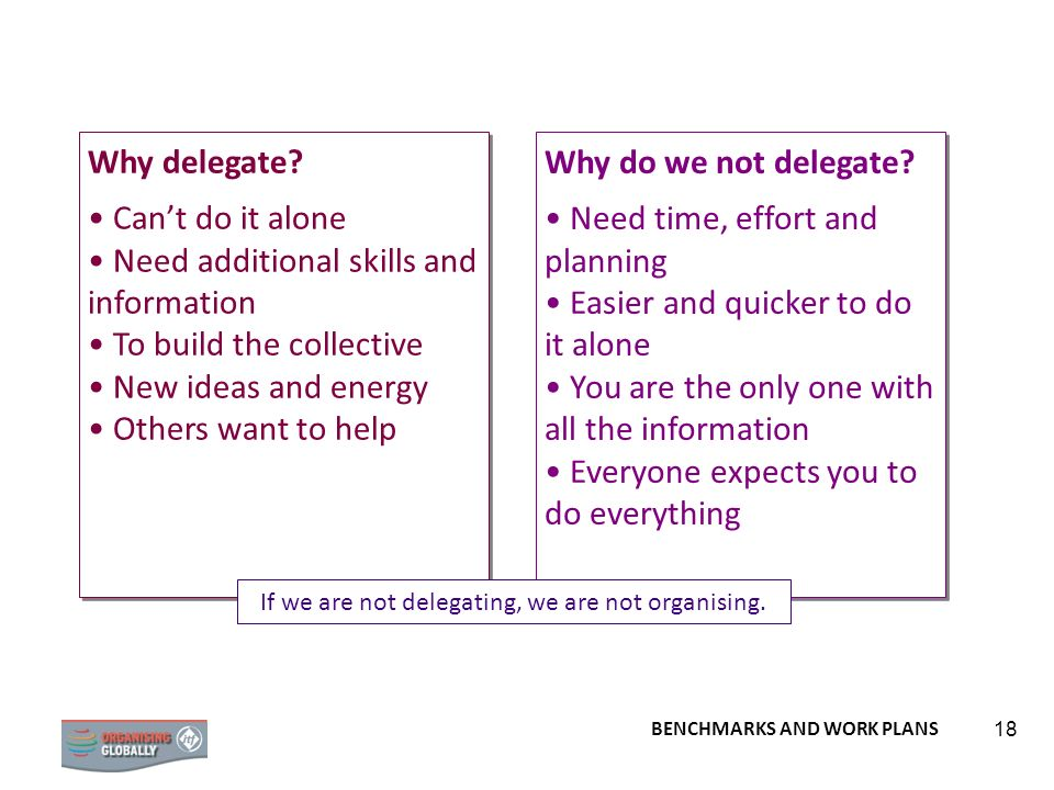 If we are not delegating, we are not organising.