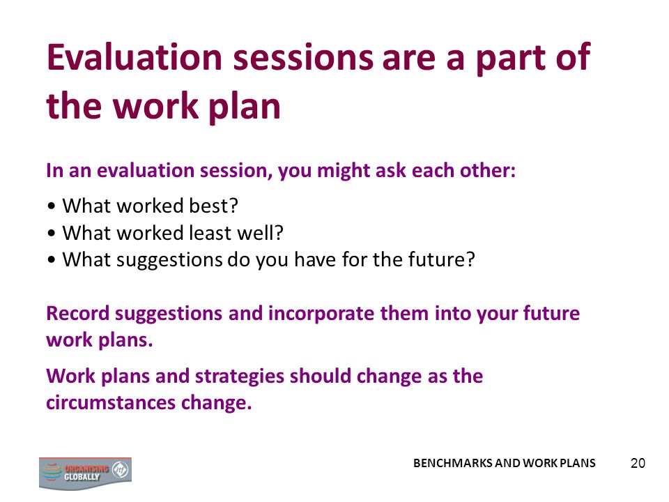 Evaluation sessions are a part of the work plan