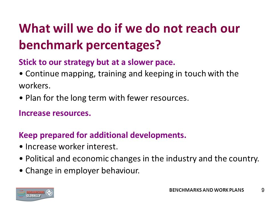What will we do if we do not reach our benchmark percentages
