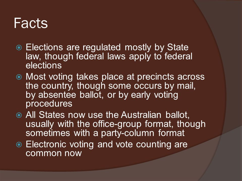 Facts Elections are regulated mostly by State law, though federal laws apply to federal elections.