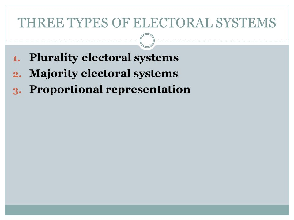 THREE TYPES OF ELECTORAL SYSTEMS