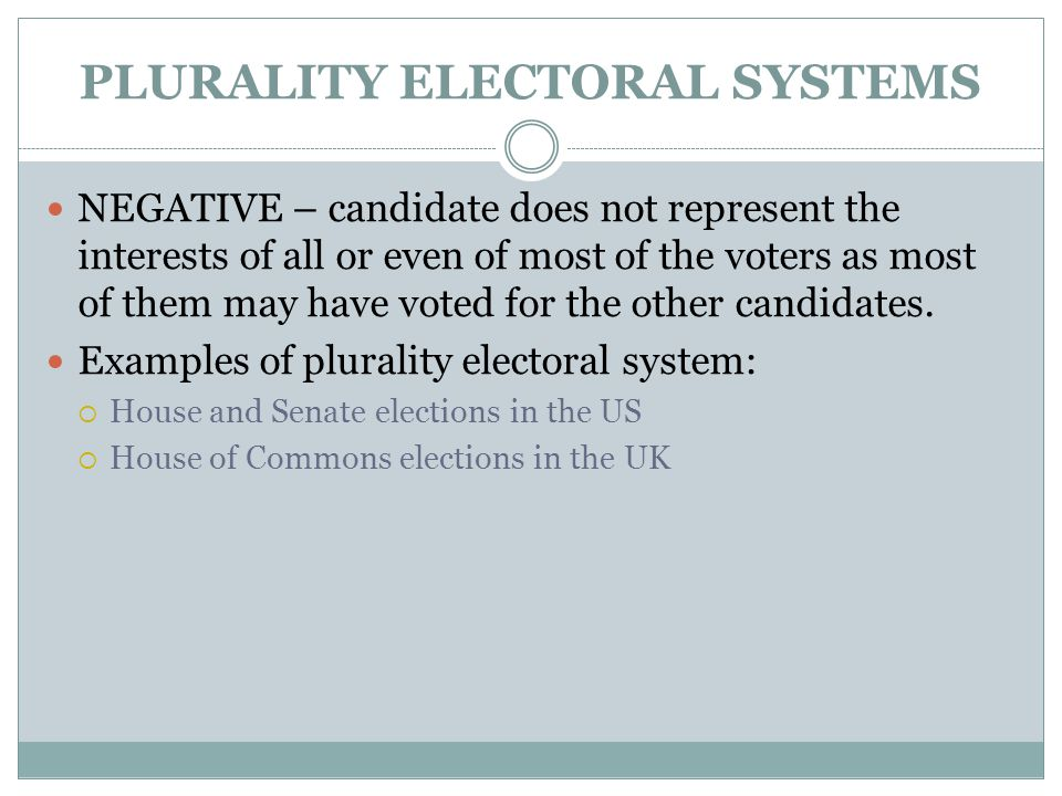 PLURALITY ELECTORAL SYSTEMS