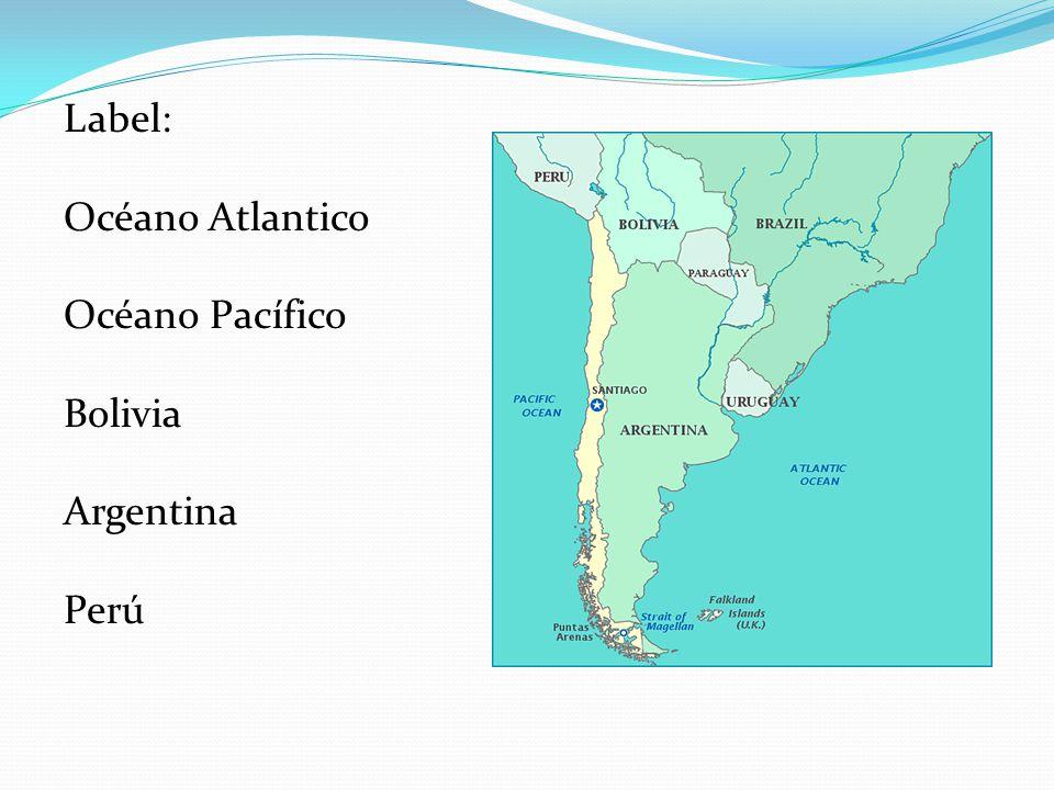 Label: Océano Atlantico Océano Pacífico Bolivia Argentina Perú