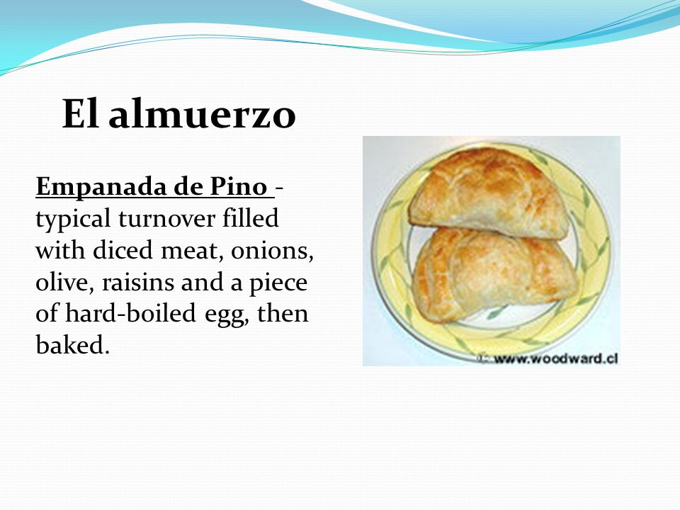 El almuerzo Empanada de Pino - typical turnover filled with diced meat, onions, olive, raisins and a piece of hard-boiled egg, then baked.