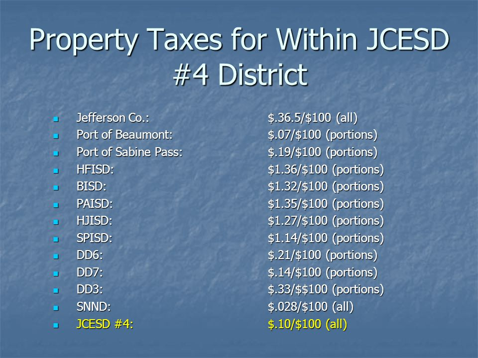 Property Taxes for Within JCESD #4 District