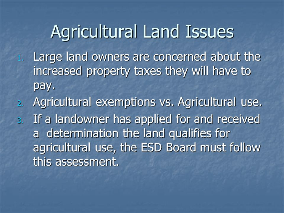 Agricultural Land Issues
