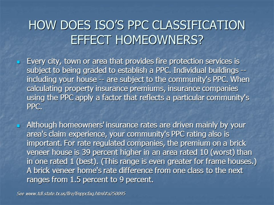 HOW DOES ISO's PPC Classification effect Homeowners