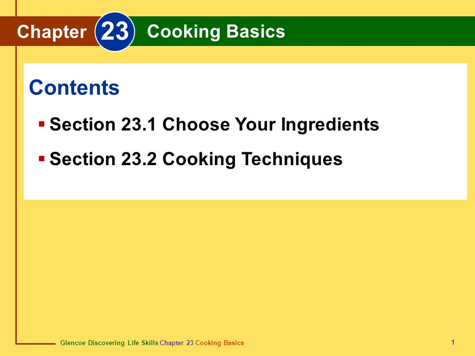 23 Contents Chapter Cooking Basics