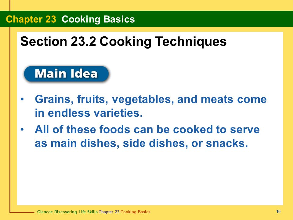 Section 23.2 Cooking Techniques