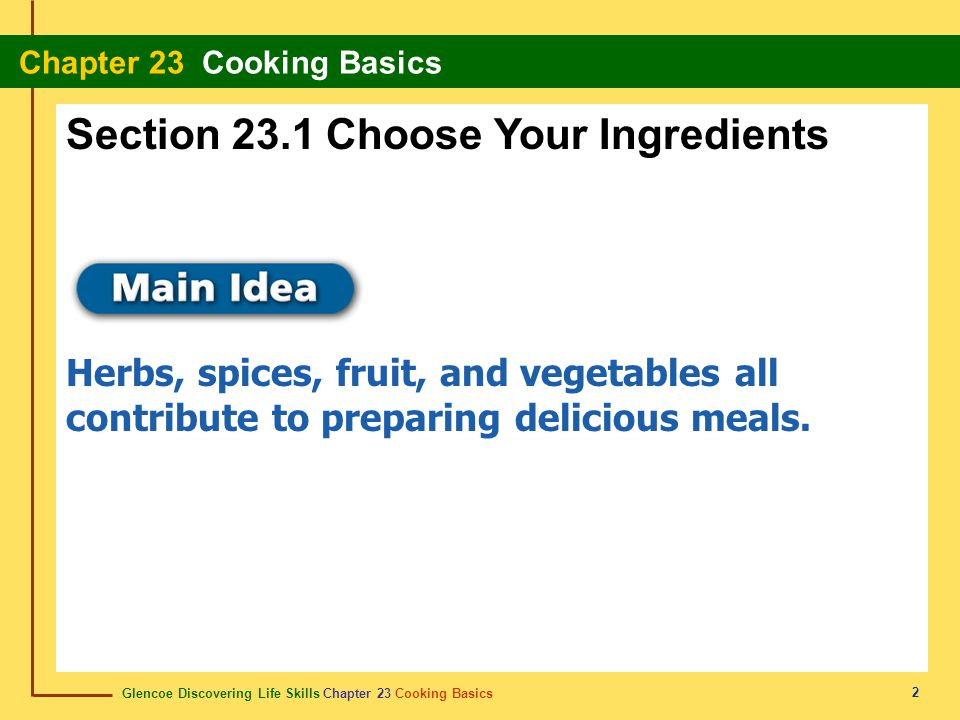 Section 23.1 Choose Your Ingredients