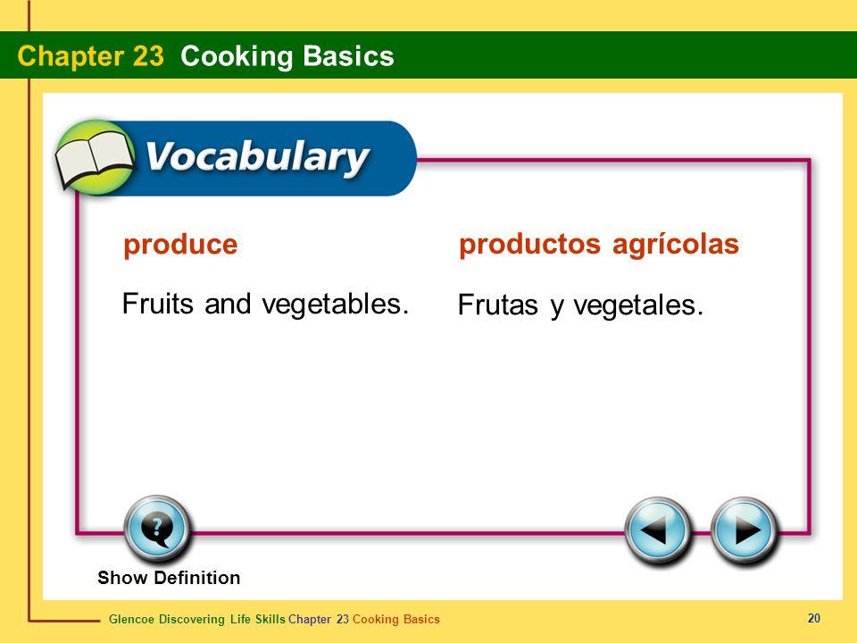 produce productos agrícolas Fruits and vegetables. Frutas y vegetales.