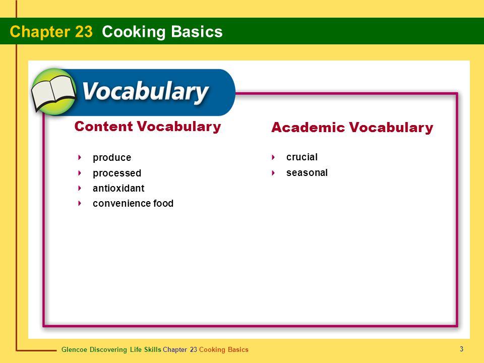 Content Vocabulary Academic Vocabulary produce processed antioxidant