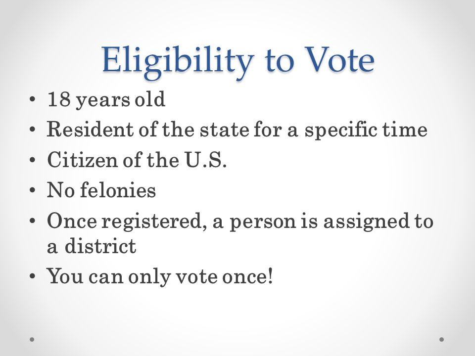 Eligibility to Vote 18 years old