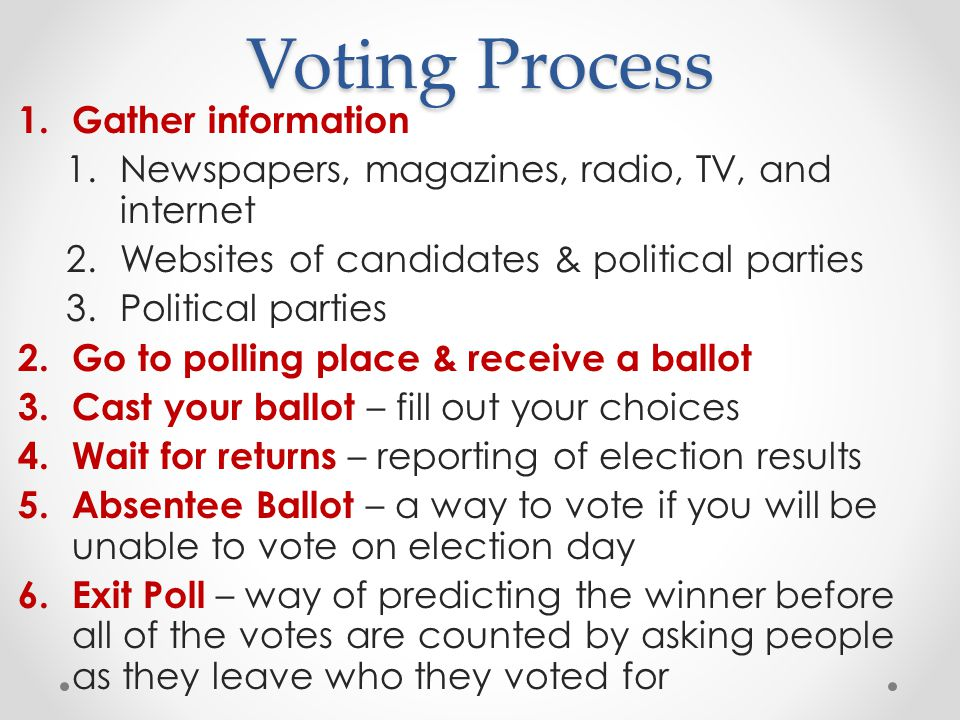 Voting Process Gather information