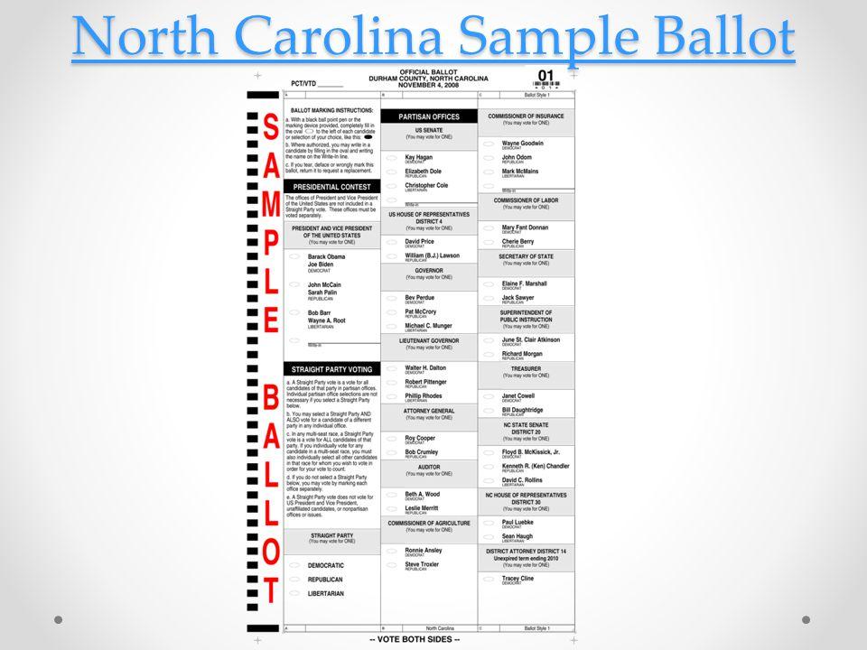 North Carolina Sample Ballot