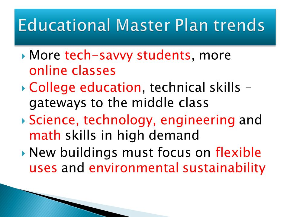 Educational Master Plan trends