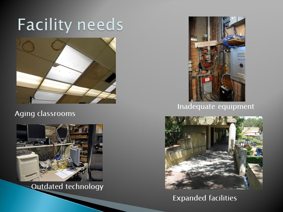 Facility needs Inadequate equipment Aging classrooms