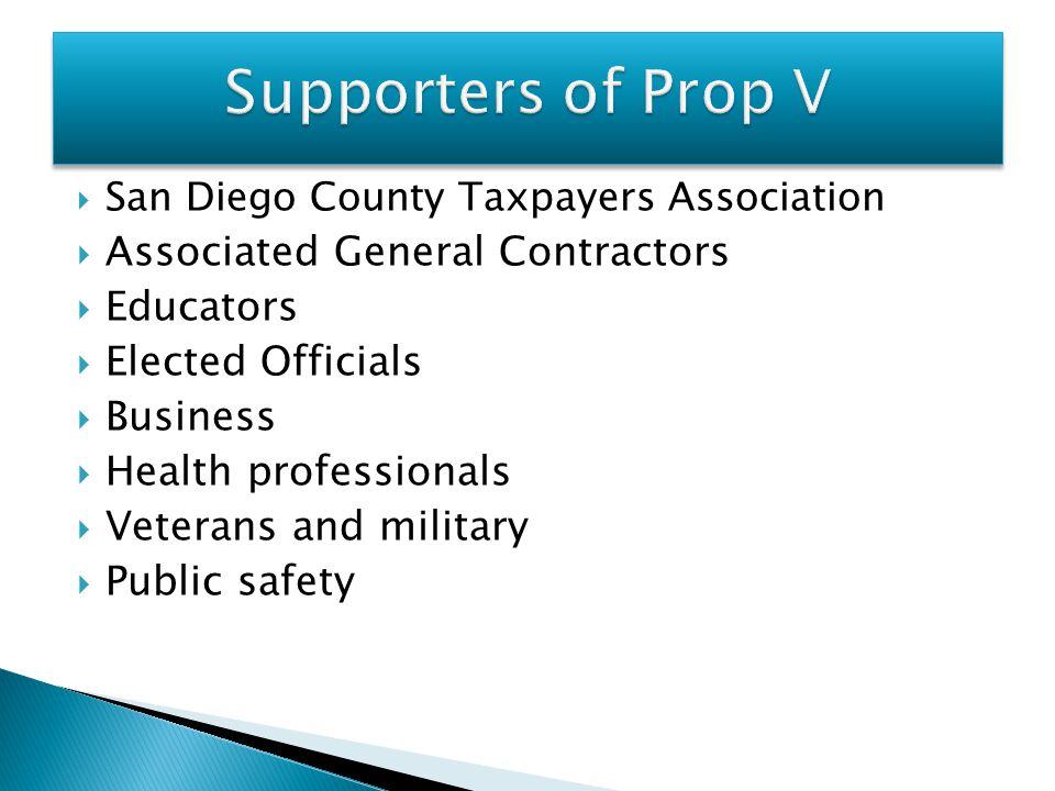 Supporters of Prop V Associated General Contractors Educators
